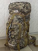 Большой туристический камуфляжный каркасный рюкзак THE NORTH FACE светлый пиксель 60 литров