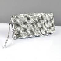 Клатч из камней женский выпускной вечерний сумка малая серебро Rose Heart 3211