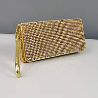 Клатч из камней женский выпускной вечерний сумка малая золото Rose Heart 3211