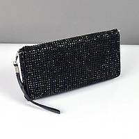 Клатч из камней женский выпускной вечерний сумка малая черная Rose Heart 3211