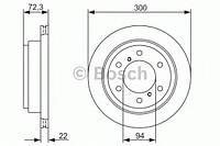 """Гальмівний диск mitsubishi/pajero""""02- (производство Bosch ), код запчасти: 0986479373"""