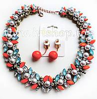"""Комплект украшений ожерелье и серьги с цветными камнями, стразами и жемчугом """"ОРАНЖЕВОЕ НАСТРОЕНИЕ"""""""