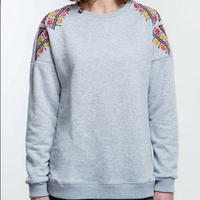 Ультрамодный женский серый свитшот