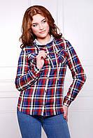Женская рубашка с карманами в клетку,синий-бордовый
