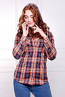 Теплая женская рубашка в клетку, синий-коричневый