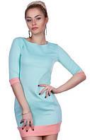 Двухцветное облегающее женское платье мини с карманами рукав три четверти дайвинг