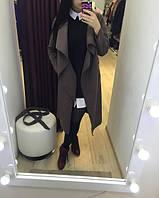 Пальто кашемировое  демисезонное, шоколадного  цвета