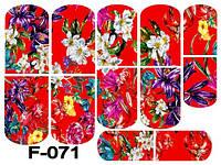 Слайдер дизайн (водная наклейка) для ногтей F-071