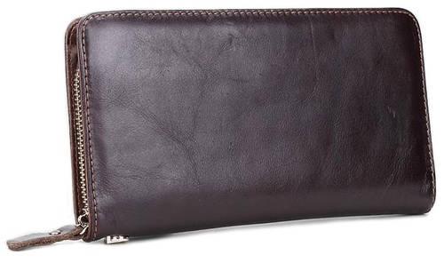 Практичный темно-коричневый кожаный  клатч MS Collection Ms015B