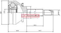 Шрус нар. zaz 1102, daewoo sens 1.3/1.4 22/22/42 mm (производство KAMOKA ), код запчасти: 6640