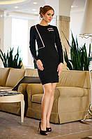 Платье Приталенное из Стеганного Стрейч-Трикотажа Декор из Молний Черное р. S-2XL