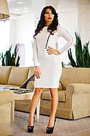 Платье Приталенное из Стеганного Стрейч-Трикотажа Декор из Молний Белое р. S-2XL