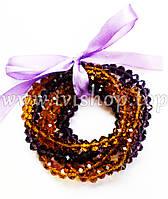 Комплект 6 браслета из чешского стекла янтарного и фиолетового цвета