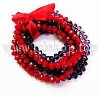 Комплект 6 браслетов из чешского стекла красного и фиолетового цвета