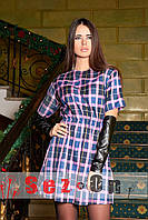Платье женское в клетку с кожаными рукавами Митенки - Сиреневый