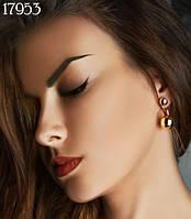 Сережки пуссеты (матрешки, двойной шарик, диор) Mise en Dior крючек ПОД ЗОЛОТО
