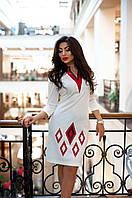 Платье Полуприлегающее из Дайвинга и Аппликацией из Эко-Кожи  Белое  р. ХS-2XL