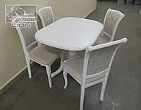 Обеденный комплект Стол + 4 стула, цвет белый, ваниль