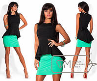 Костюм женский юбка и блуза без рукав с баской Размеры: S, M