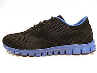Кроссовки мужские Reebok черные с голубым, замшевые (рибок)р.41,43,44