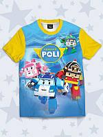 Прикольная детская футболка Robocar Poli с ярким принтом.