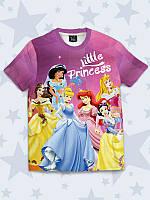 Модная детская футболка Диснеевские принцессы с ярким рисунком.