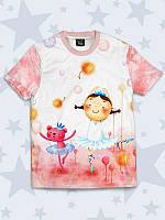 Милая детская футболка Маленькие принцессы с красочным рисунком.