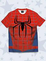 Прикольная детская футболка Питер Паркер с принтом популярного супергероя.