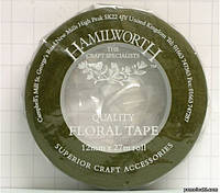 "Тейп-лента флористическая зеленая ""Hamilworth"" (Англия), 12 мм"