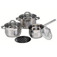 Набор кухонной посуды из нержавеющей стали 7 предметов (2 кастрюли, 1 ковш,1 подставка под горячее) АМА A-4141
