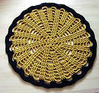 Коврик для пола вязаный ручной работы желто-коричневый