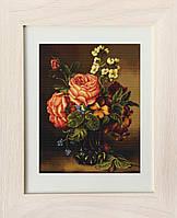 """Набор для вышивания нитками  """"Ваза с розами и цветами"""""""