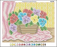 Цветы в корзине. Картины. Основа (канва) для вышивки