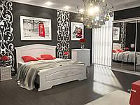 Спальня Инесса белый супермат с патиной серебро - кровать, тумбы, комод, шкаф-купе