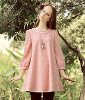 Розовое платье-туника свободного кроя для беременных