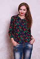 Молодежная женская рубашка синего цвета в вишенки