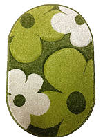 Коврик для ванной Firuze, фризе, акрил, ромашка, зеленый