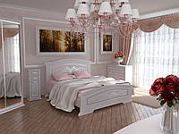 Спальня Инесса Гранд белый супермат с патиной серебро - кровать, тумбы, комод, шкаф-купе