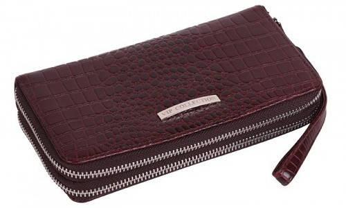 Женский кожаный клатч кошелек Vip Collection, Арт. 1501B croc коричневый