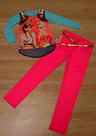 Набор из туники изображением Принцес Анныи и Эльзы Холодное сердце и яркие, стильные брюки для девочки