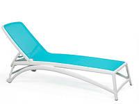 Лежак пластиковый Atlantico  белый/голубой