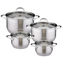 Набор кухонной посуды из нержавеющей стали 8 предметов (4 кастрюлю) АМА A-4707S