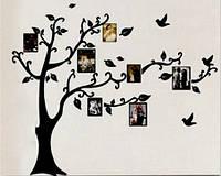 Наклейка виниловая Дерево с фоторамками 3D декор