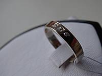 Обручальное кольцо серебряное с золотой вставкой