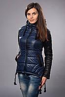 Женская демисезонная куртка - парка. Код модели К-56-12-15. Цвет темно синий.