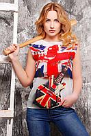 Супер стильная летняя футболка с изображением британского флага и гитары