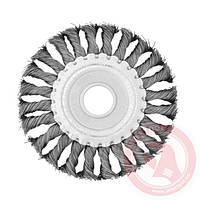 Щетка дисковая 115х22,2 мм для УШМ плетеная проволока INTERTOOL
