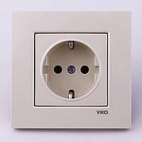 Розетка электрическая VI-KO Karre скрытой установки одинарная с заземлением (кремовая)