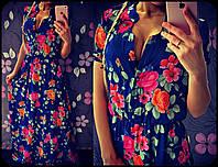 """Платье женское длинное из атласа с принтом """"Цветочное"""""""