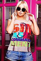 Модная молодежная футболка белого цвета с оригинальным принтом в виде надписи